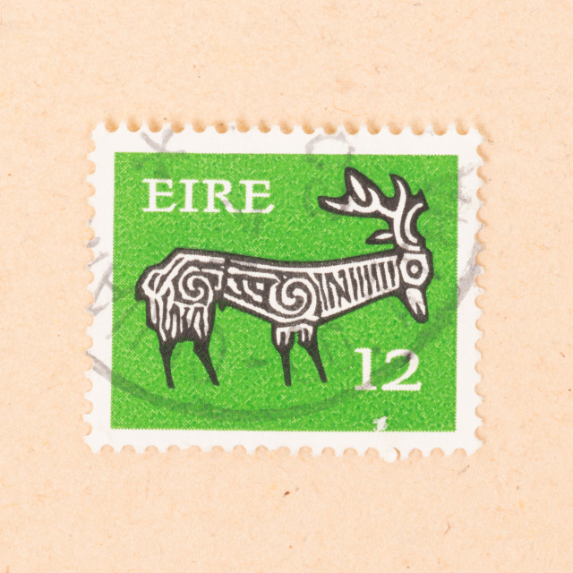 """""""IRELAND - CIRCA 1980: A stamp printed in Ireland shows a drawing of an..."""" stock image"""
