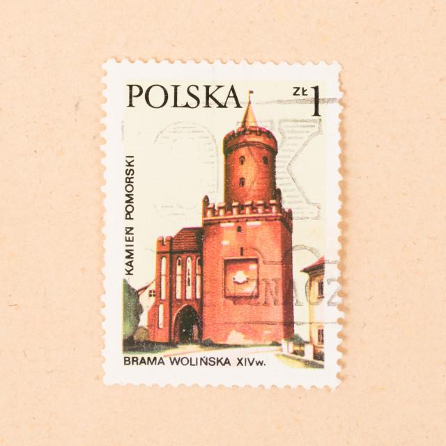 """""""POLAND - CIRCA 1970: A stamp printed in Poland shows a church, circa 1970"""" stock image"""