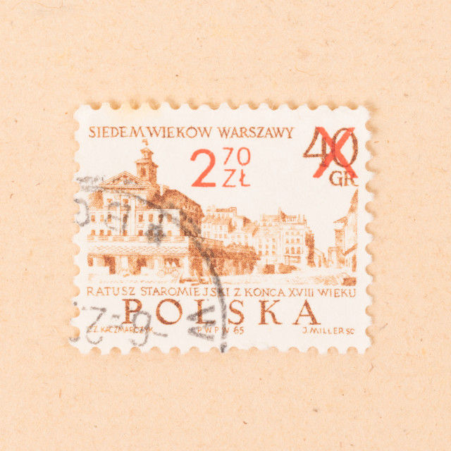"""""""POLAND - CIRCA 1970: A stamp printed in Poland shows an image of Warschaw,..."""" stock image"""