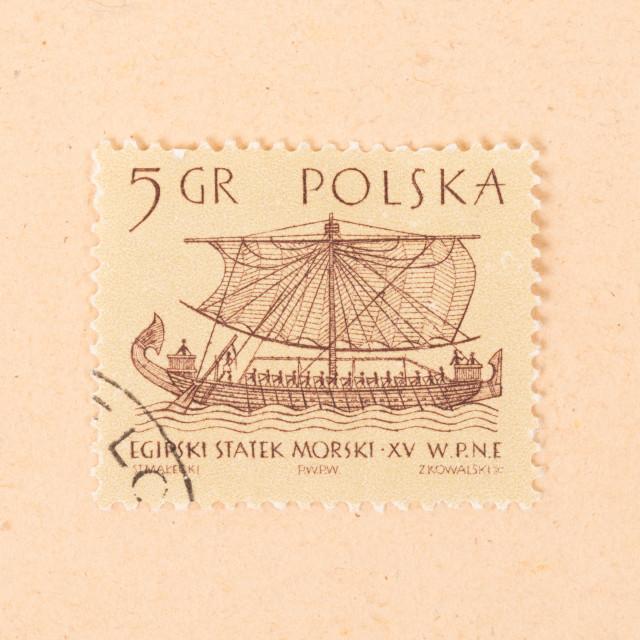 """POLAND - CIRCA 1970: A stamp printed in Poland shows an old boat, circa 1970"" stock image"