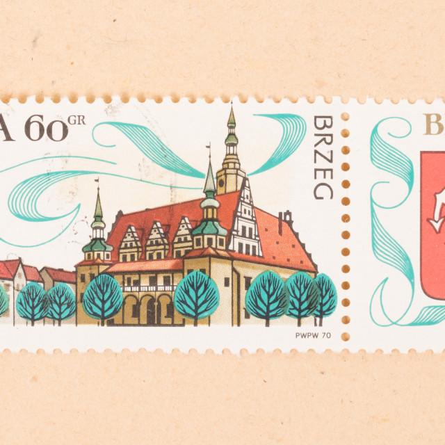 """POLAND - CIRCA 1970: A stamp printed in Poland shows a large building, circa..."" stock image"