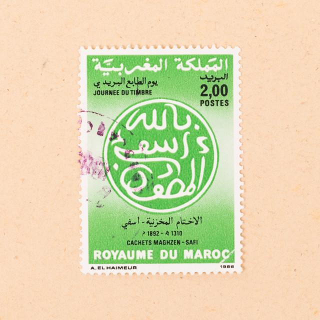 """MOROCCO - CIRCA 1980: A stamp printed in Morocco shows it's value, circa 1980"" stock image"