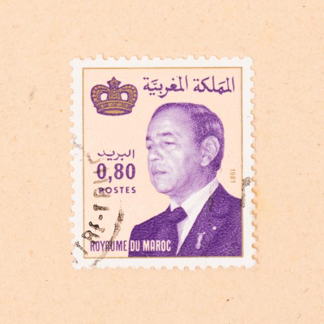 """MOROCCO - CIRCA 1980: A stamp printed in Morocco shows the king, circa 1980"" stock image"
