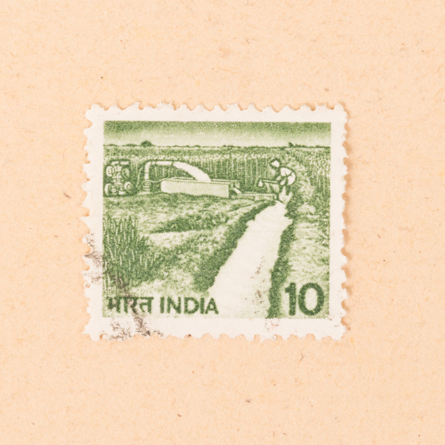 """""""INDIA - CIRCA 1970: A stamp printed in India shows irrigation, circa 1970"""" stock image"""