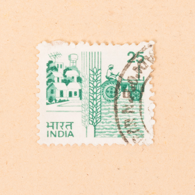"""""""INDIA - CIRCA 1970: A stamp printed in India shows agriculture in india,..."""" stock image"""
