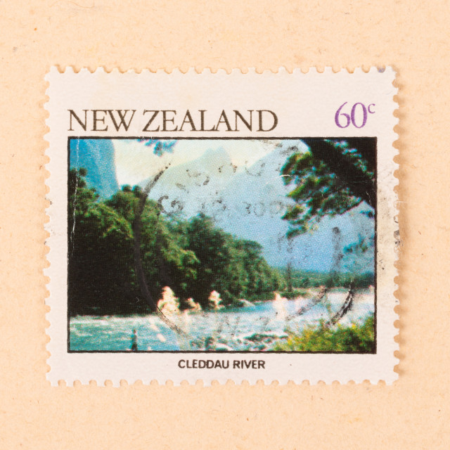 """""""NEW ZEALAND - CIRCA 1980: A stamp printed in New Zealand shows Cleddau River,..."""" stock image"""