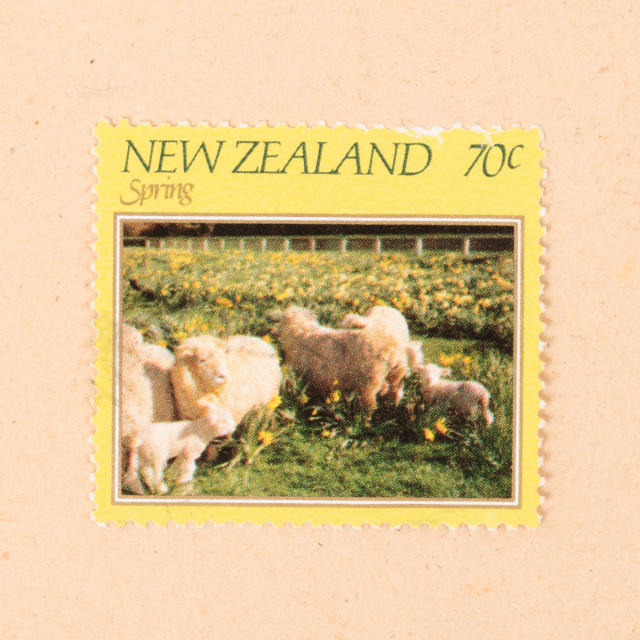 """""""NEW ZEALAND - CIRCA 1980: A stamp printed in New Zealand shows spring in the..."""" stock image"""