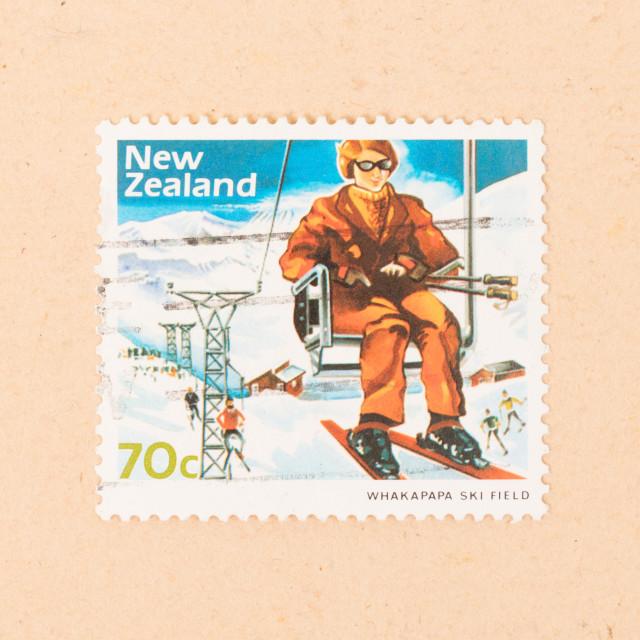 """NEW ZEALAND - CIRCA 1980: A stamp printed in New Zealand shows Whakapapa Ski..."" stock image"