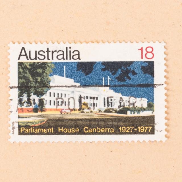 """AUSTRALIA - CIRCA 1977: A stamp printed in Australia shows Parliament House..."" stock image"