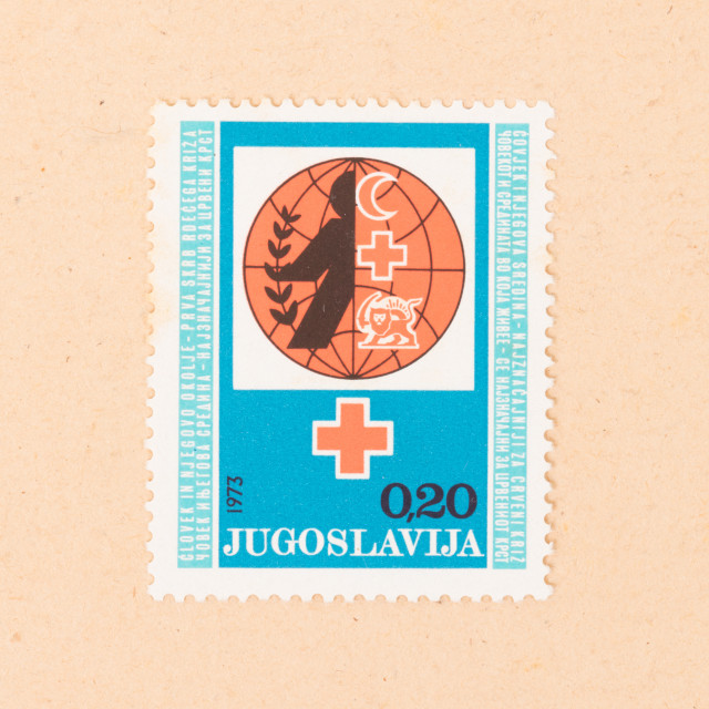 """JUGOSLAVIA - CIRCA 1973: A stamp printed in Jugoslavia shows a red cross,..."" stock image"