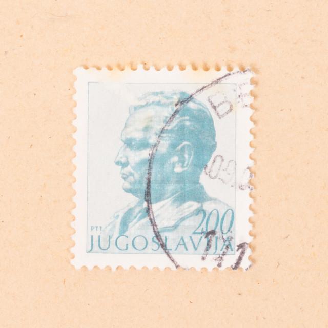 """JUGOSLAVIA - CIRCA 1980: A stamp printed in Jugoslavia shows the president,..."" stock image"