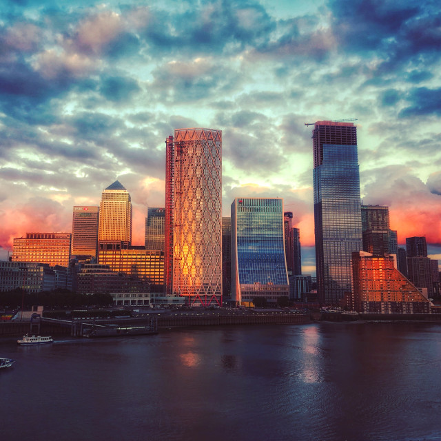 """The Sunset Reflecting on Canary Wharf"" stock image"