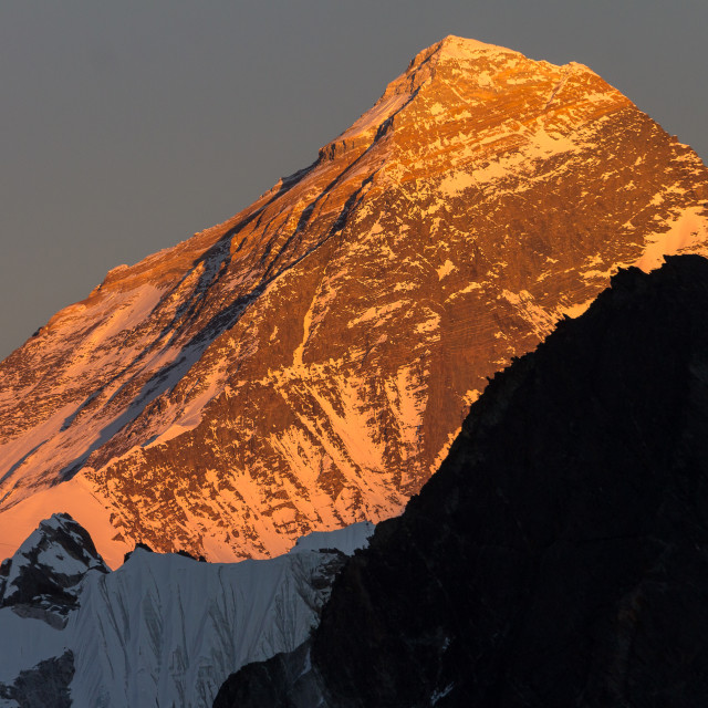 """Everest seen from Gokyo Ri shortly before sunset"" stock image"
