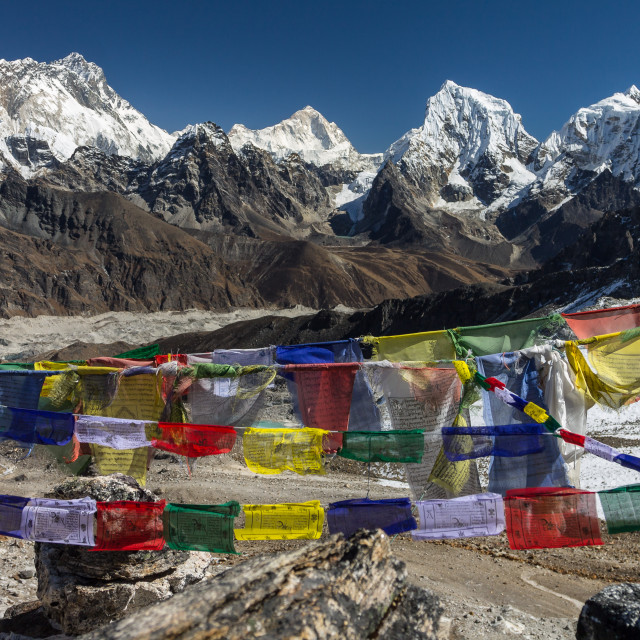 """Everest, Nuptse, Lhotse, Makalu, Cholatse and Taboche. View from Renjo La."" stock image"