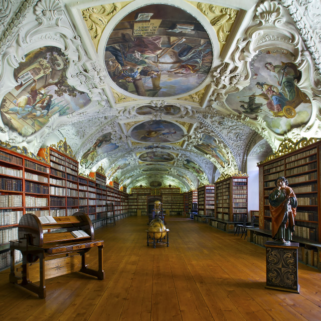 """Strahov Library - Theological Hall (Strahovská knihovna), Prague"" stock image"