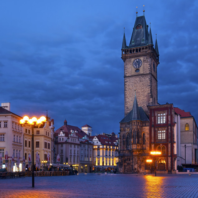 """Old Town hall and Old Town Square (Staroměstské náměstí) in the morning, Prague"" stock image"