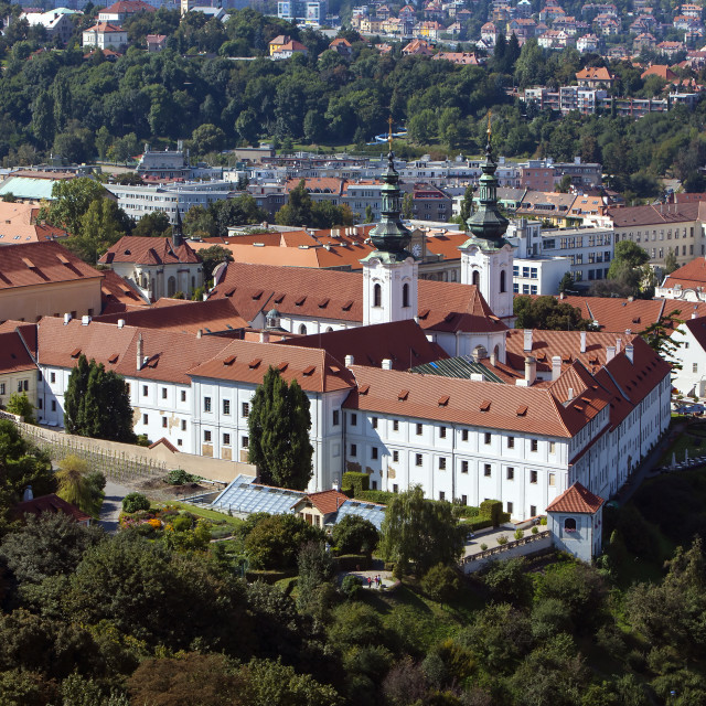 """Strahov monastery in Prague, view from Petrin hill"" stock image"