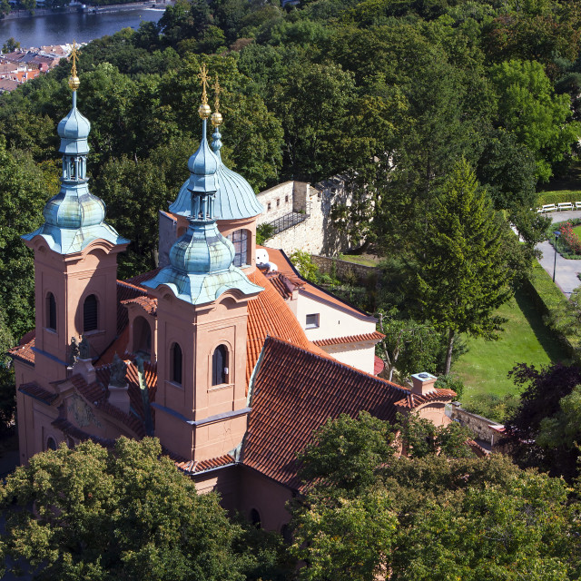 """Cathedral of St. Lawrence on Petrin hill in Prague, view from Petrín Lookout Tower"" stock image"