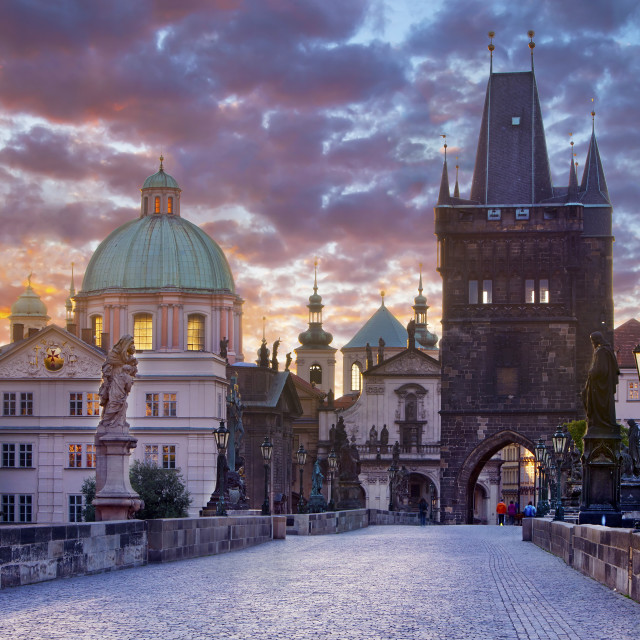 """Charles bridge (Karluv most) at sunrise, Prague"" stock image"