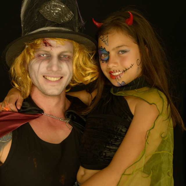 """""""Little Devil and Dad"""" stock image"""