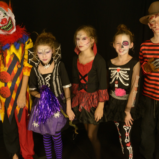 """Kids in Halloween Costumes"" stock image"