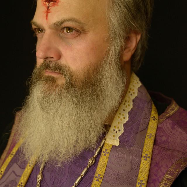 """Profile of Priest"" stock image"