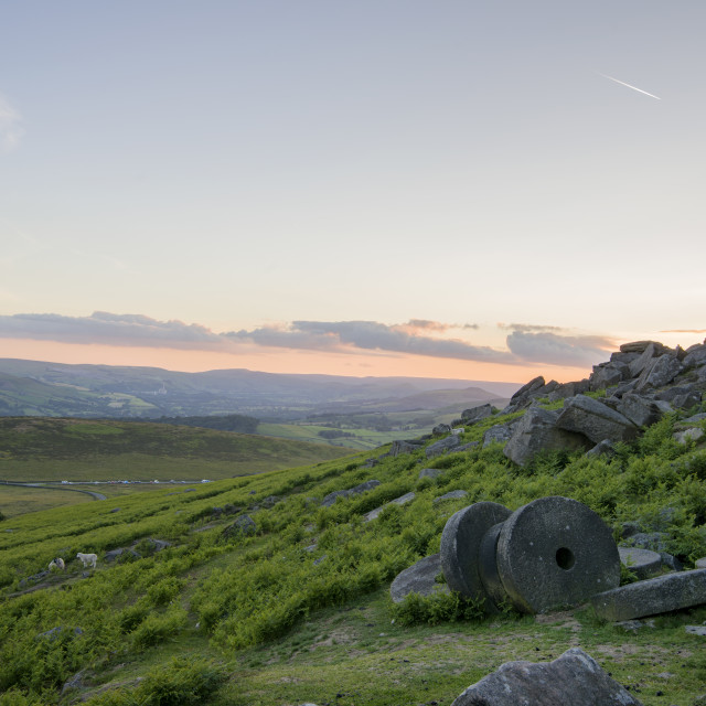 """Mill Stones at Stanage Edge"" stock image"