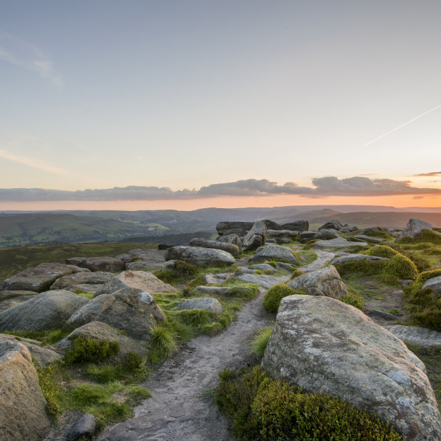 """Sunset on top of Stanage Edge"" stock image"