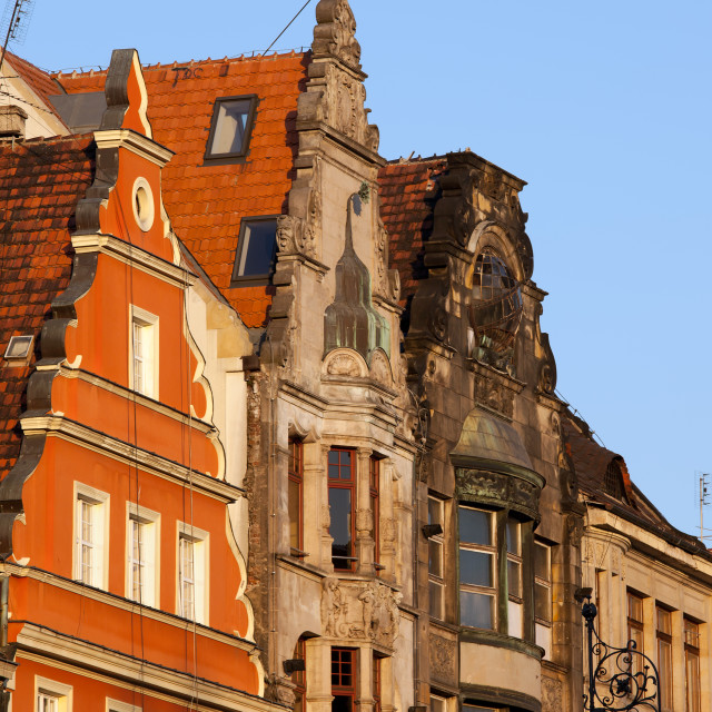 """""""Historic Buildings With Gable in Wroclaw"""" stock image"""