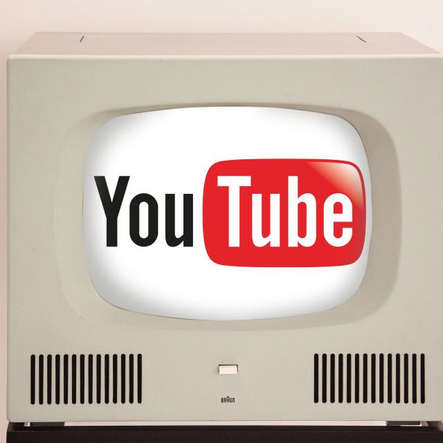 """youtube on retro tv"" stock image"
