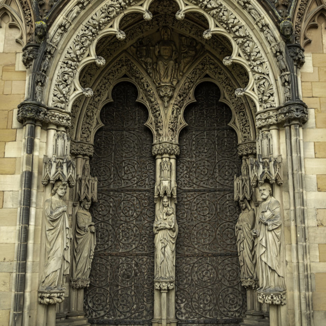 """""""Lichfield Cathedral front door"""" stock image"""