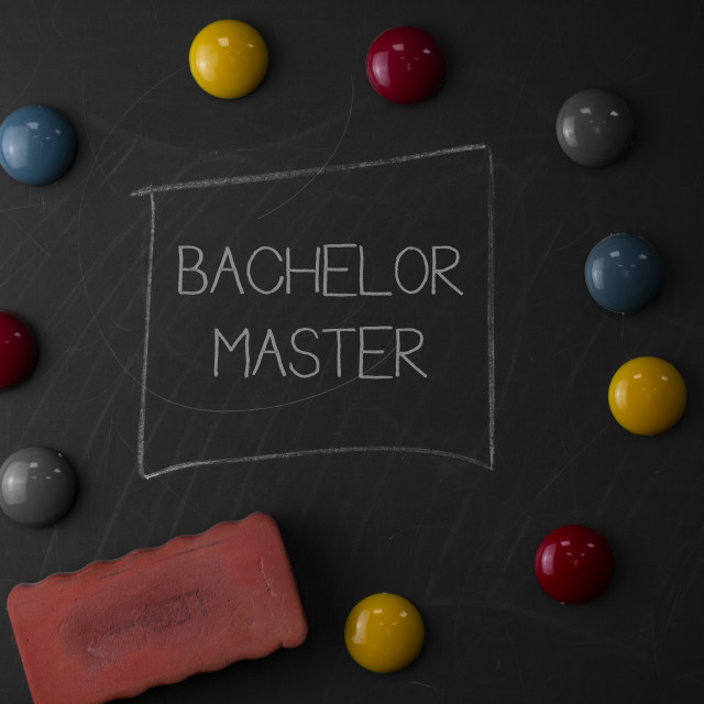 """""""Text sign showing Bachelor Master. Conceptual photo An advanced degree..."""" stock image"""
