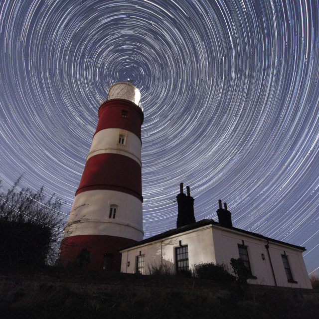 """""""StarTrails at Happisburgh Lighthouse"""" stock image"""