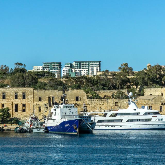 """Marxamxett Harbour, Malta"" stock image"