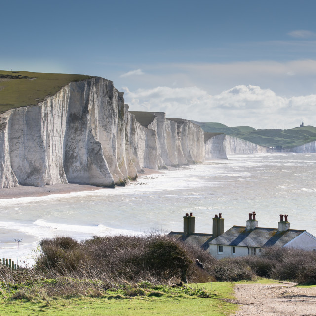 """Seven Sisters and Coastguard Cottages at Cuckmere Haven"" stock image"
