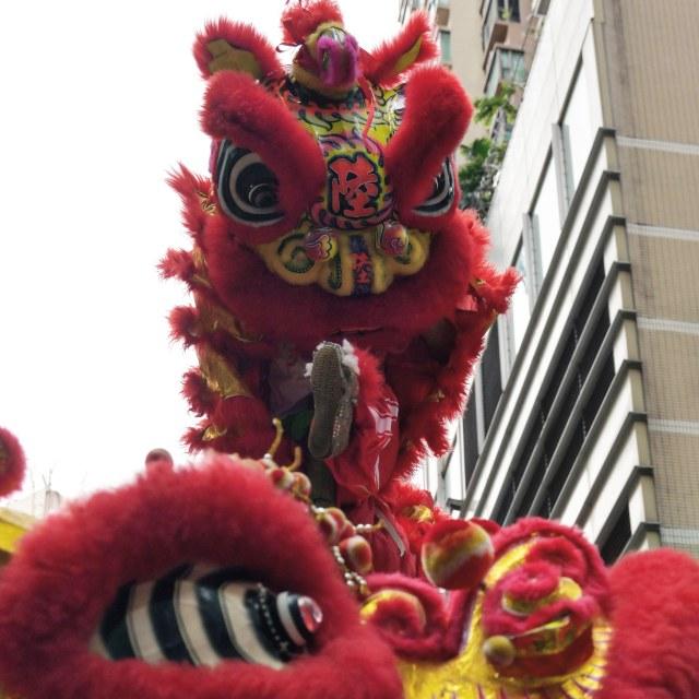 """Lion dance in Hongkong"" stock image"