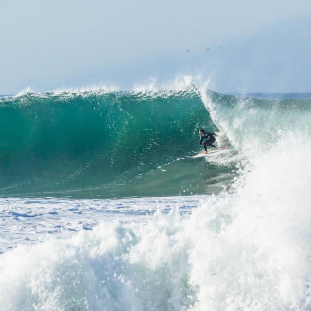 """Surfer Encounter Ocean Wave Power"" stock image"