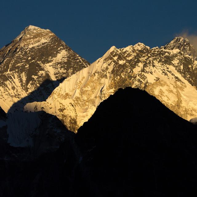 """Mount Everest, Nuptse and Lhotse seen from Gokyo Ri at sunset"" stock image"
