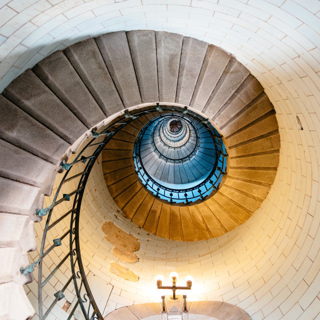 """Spiral staircase in Eckmuhl Lighthouse in Brittany"" stock image"