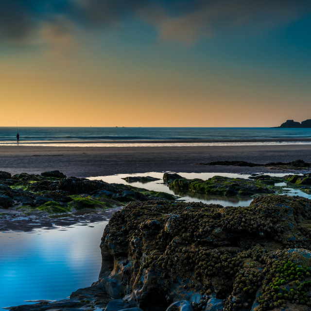 """Sunset at Gwithian Beach Cornwall"" stock image"