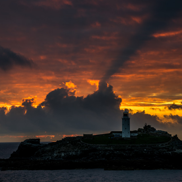 """Really amazing sunset at Godrevy"" stock image"