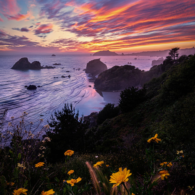 """""""A Seascape Sunset in Northern California, USA"""" stock image"""