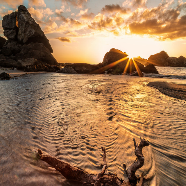 """""""Sunset at a Rocky Pacific Northwest Beach"""" stock image"""