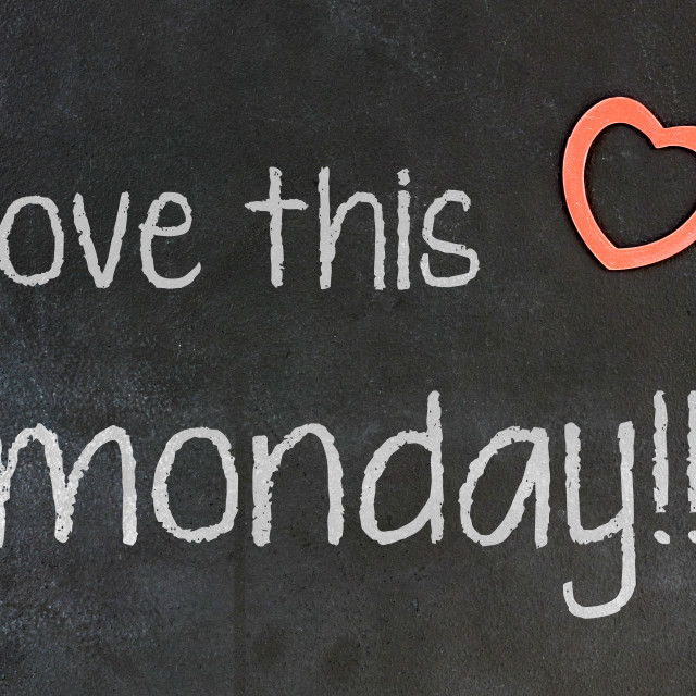 """""""Blackboard with small red heart - I Love this monday"""" stock image"""