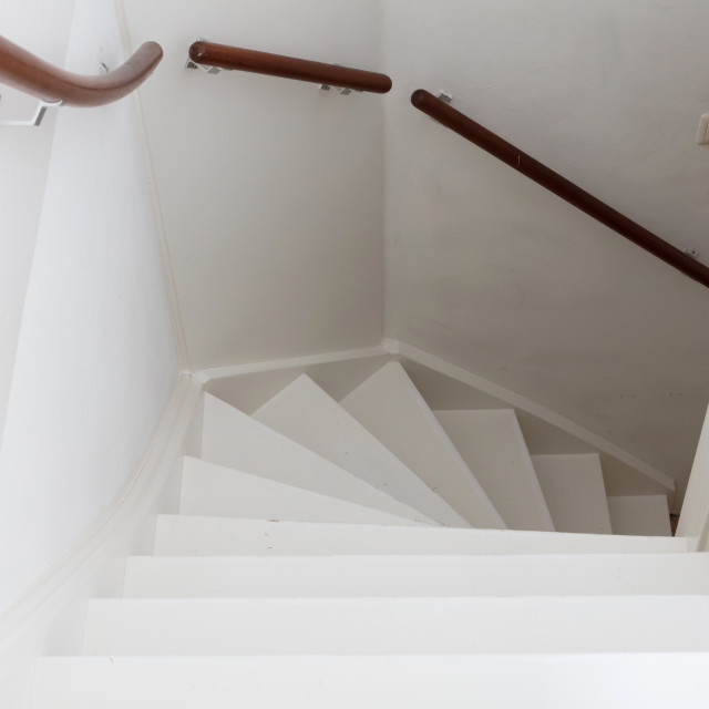 """""""White wooden stairs"""" stock image"""