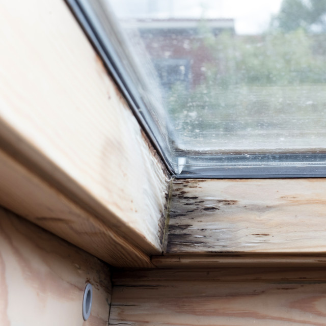 """""""Roof window after leaking"""" stock image"""