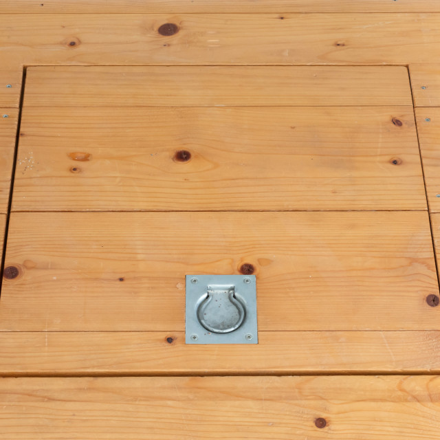 """""""Wooden square old hatchway in the cellar"""" stock image"""