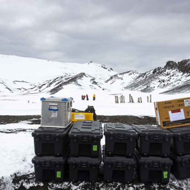 """0342 - Antarctica - Scientific equipment, tents and food"" stock image"