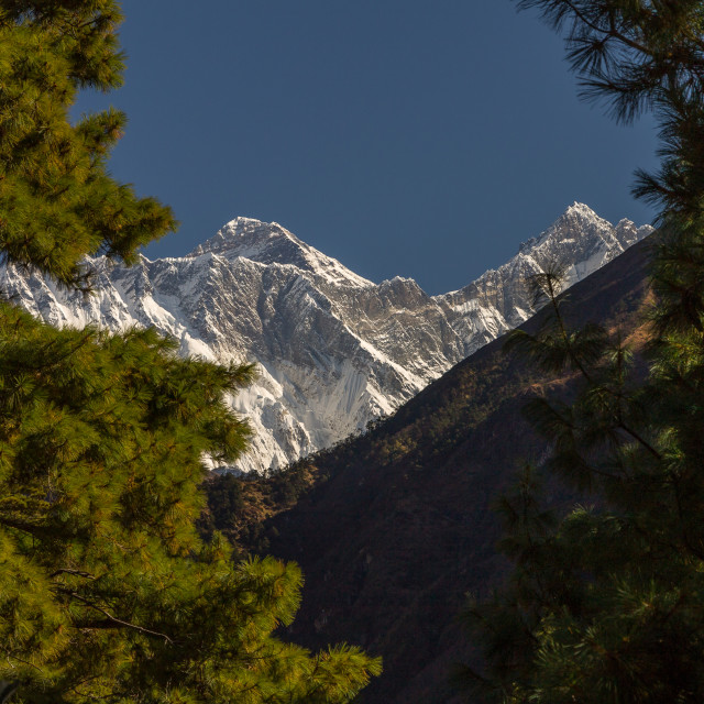 """Mount Everst seen from the way to Namche Bazaar"" stock image"