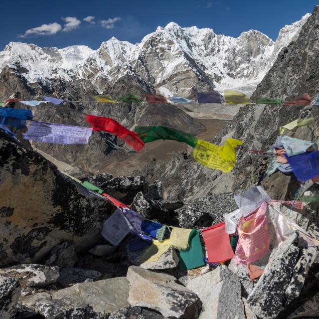 """Kongma La (5529m) - view towards the West. Three Passes Trek, Solukhumbu, Nepal."" stock image"